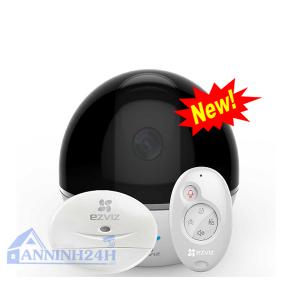 Trọn bộ kit báo động không dây C6T with RF tích hợp camera xoay 4 chiều, cảnh báo chuyển động, bao gồm: - Trung tâm báo động tích hợp camera xoay wifi xoay 4 chiều C6T